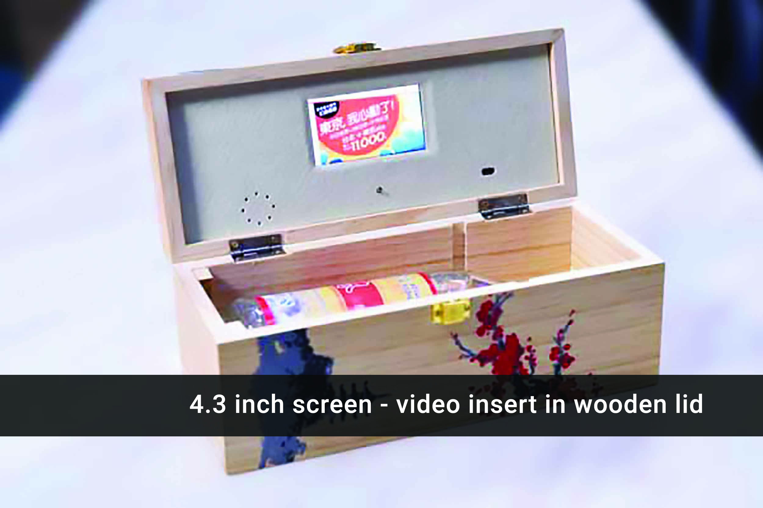4.3 inch video wooden wine box