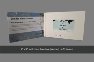 4.3 inch LCD soft cover video mailer with 4 navigation buttons.