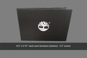 4.3 inch hard cover video brochure front image.