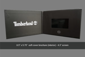 Timberland 4.3 inch hard cover video brochure.