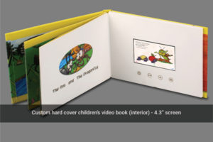 Case bound multi page 4.3 inch LCD hard cover video brochure