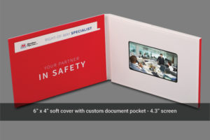 4.3 LCD soft cover brochure mailer with document pocket.