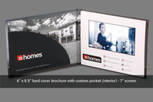 7 inch hard cover video mailer with document and business card holders.