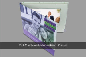 7 inch hard cover video brochure front cover