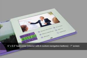 Hard cover video brochure with 7 inch LCD screen and six navigation buttons