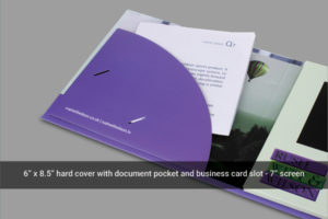 Video brochure with brochure and business card holder with 7 inch LCD screen