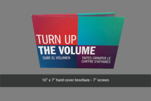 Front cover of 10 x 7 hard cover video brochure