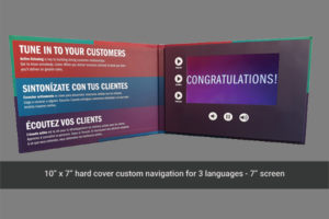 10 x 7 hard cover video brochure with 7 inch LCD screen
