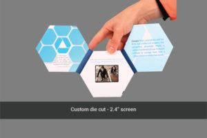 2.4 inch soft cover custom 3 panel hexagonal die cut video brochure