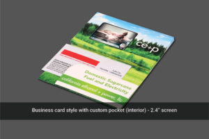 2.4 inch soft cover portrait brochure with custom pocket